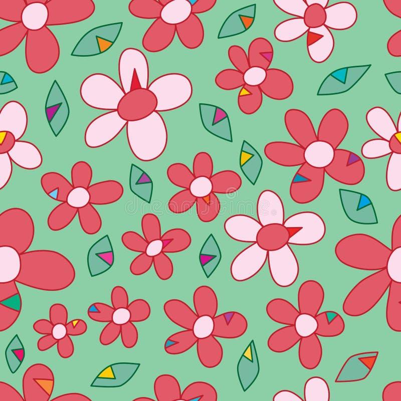 Sömlös modell för blommatriangelmode vektor illustrationer