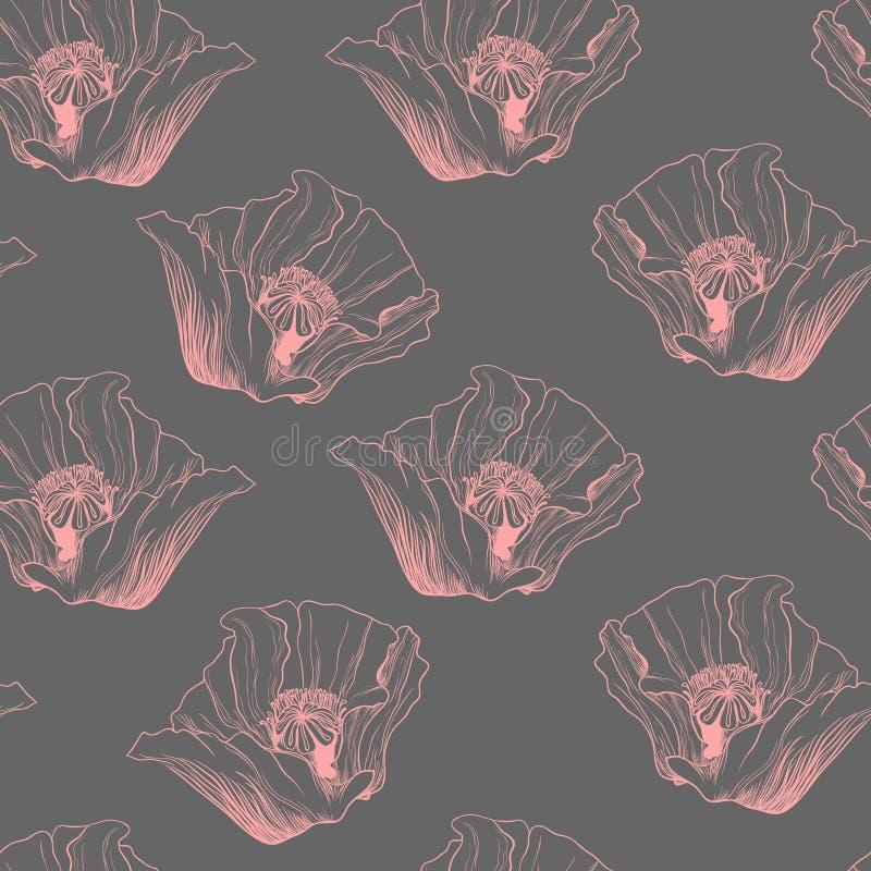 Sömlös modell för blommavår Röd vallmovektorillustration royaltyfri illustrationer