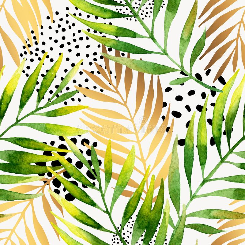 Sömlös modell för botanisk sommar Vattenfärg och guld- lutningpalmbladbakgrund royaltyfri illustrationer