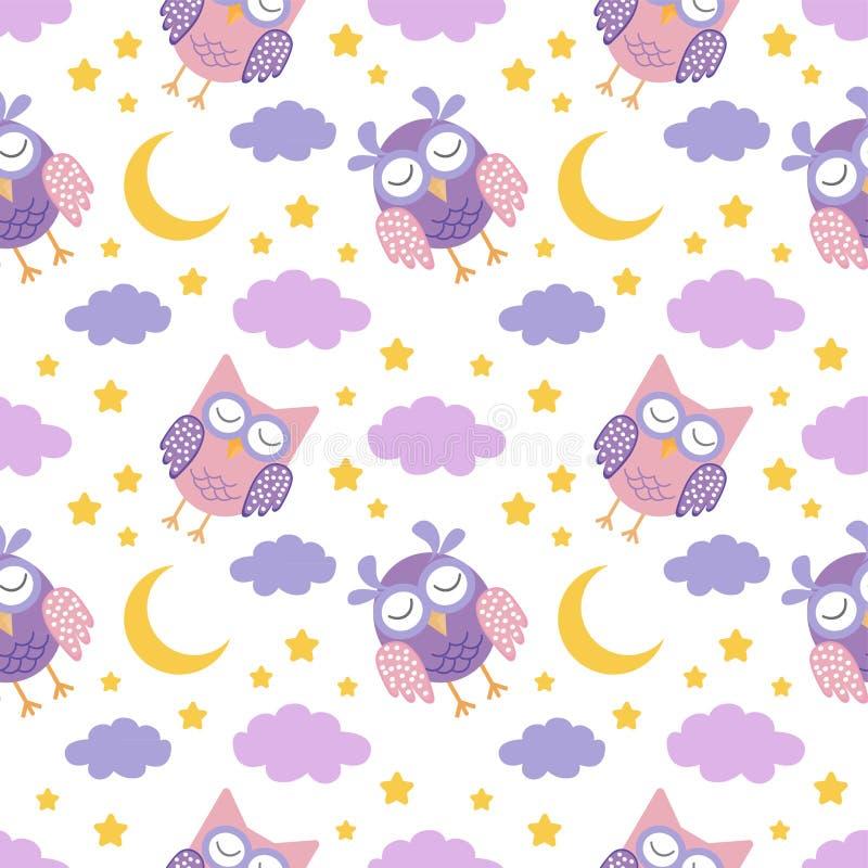Sömlös modell för bra natt med gulliga sova ugglor, månen, stjärnor och moln Bakgrund för söta drömmar royaltyfri illustrationer