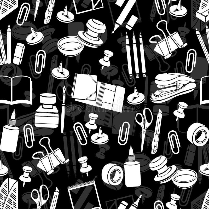 Sömlös modell för brevpapper, svartvit bakgrund för vektor, monokrom illustration Vita kontorshjälpmedel på en svart vektor illustrationer