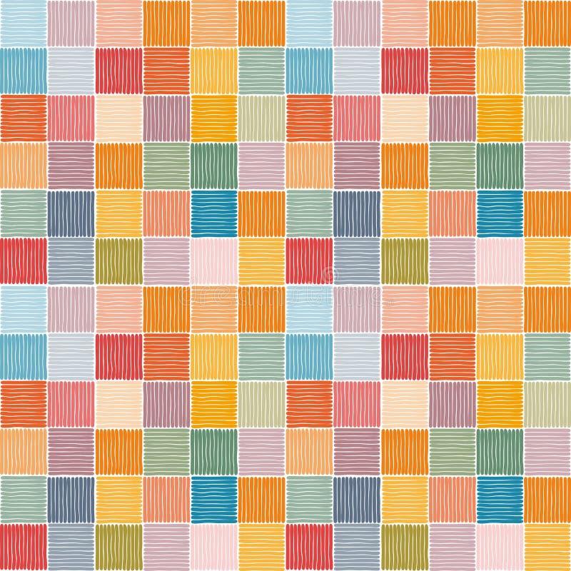 Sömlös modell för broderi av färgrika fyrkanter etniska motiv Ljust tryck för tyg, textil, filt och matta royaltyfri illustrationer