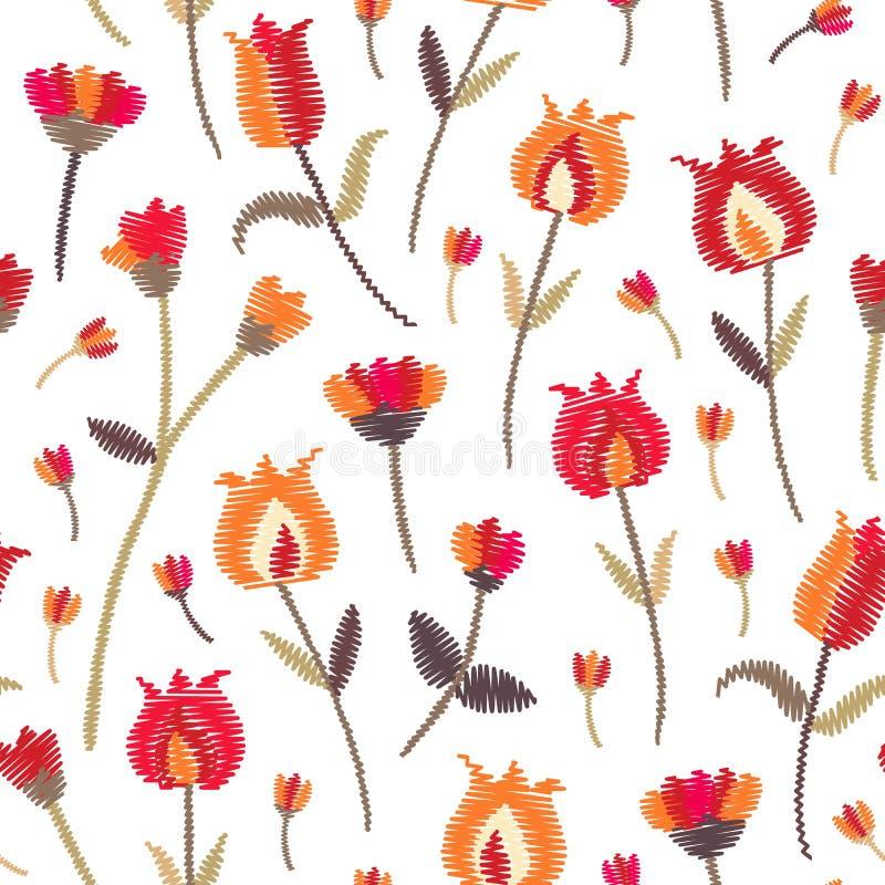Sömlös modell för broderi med gulliga blommor på vit bakgrund Mode broderad design med etniska blom- motiv stock illustrationer