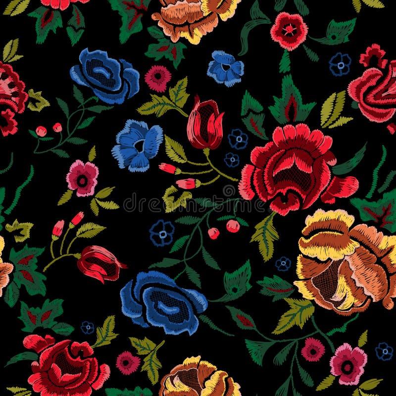 Sömlös modell för broderi med röda och blåa rosor royaltyfri illustrationer