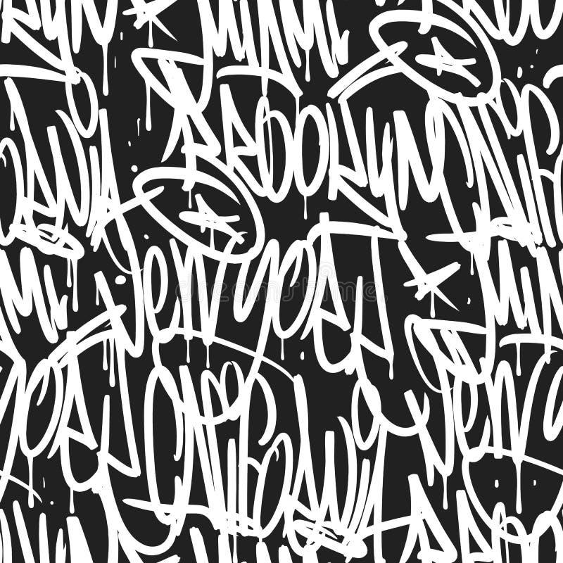 Sömlös modell för Brooklyn New York Miami Kalifornien grafitti vektor illustrationer