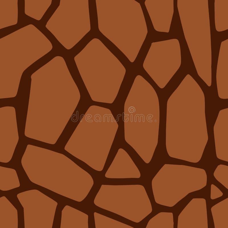 Sömlös modell för brun giraffhud För girafftextur för vektor djur bakgrund stock illustrationer