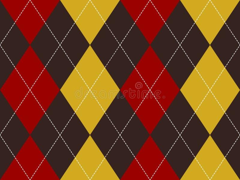 Sömlös modell för brun röd gul argyle vektor illustrationer