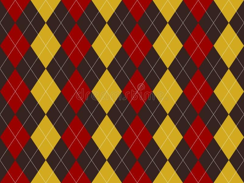 Sömlös modell för brun röd gul argyletextur vektor illustrationer