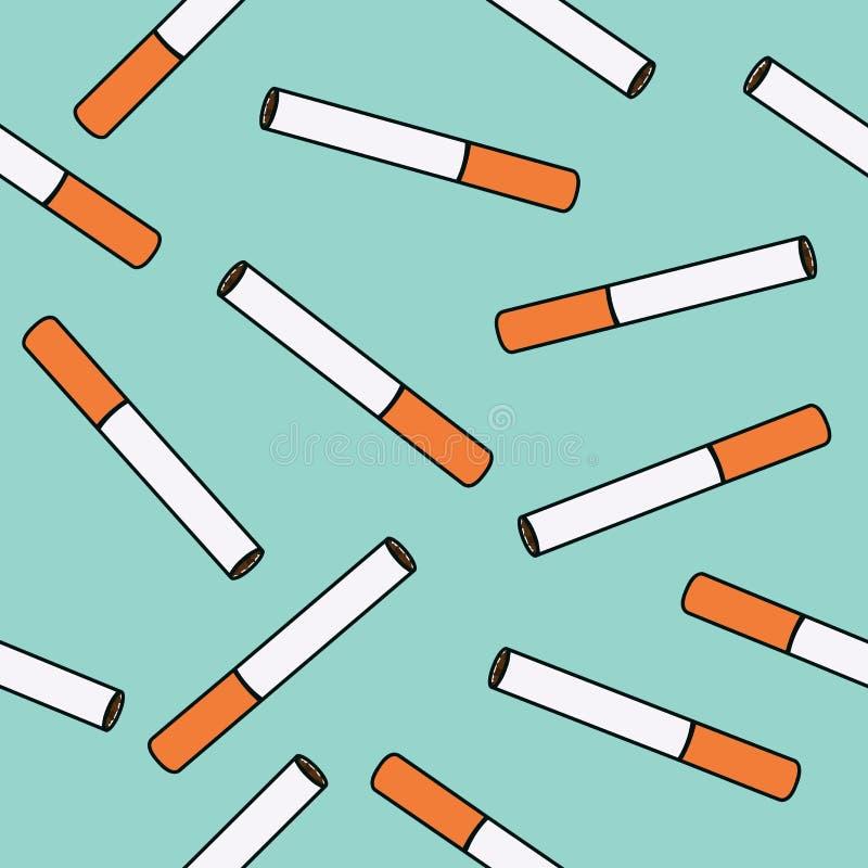 Sömlös modell för cigarettvektor stock illustrationer