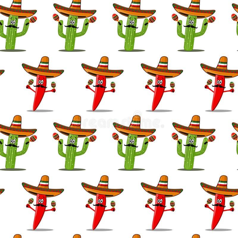 Sömlös modell för Cinco de Mayo vektor royaltyfri illustrationer