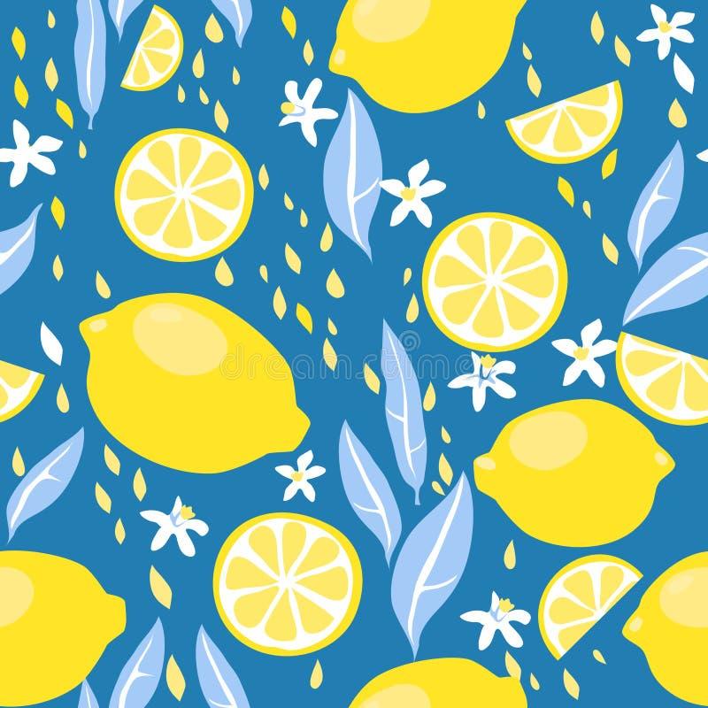 Sömlös modell för citroner stock illustrationer