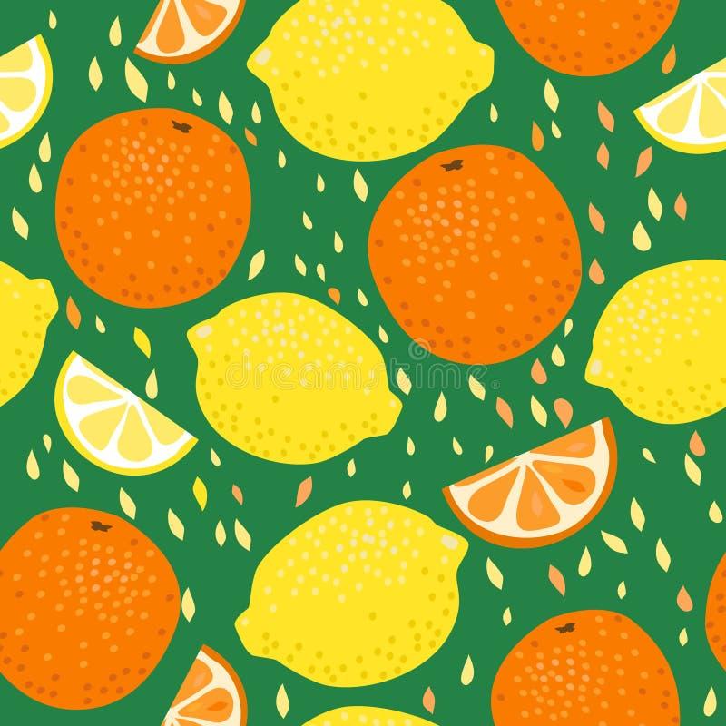 Sömlös modell för citroner och för apelsiner royaltyfri illustrationer