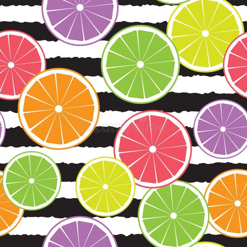 Sömlös modell för citrusfrukter på svart randig bakgrund stock illustrationer