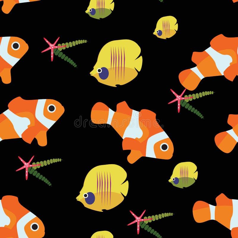 Sömlös modell för clownfisk- och sjöstjärnachaetodon vektor illustrationer
