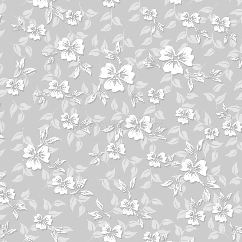 sömlös modell för 3 D-blommor royaltyfri illustrationer