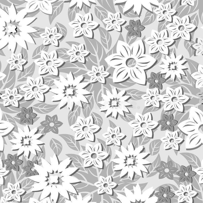 sömlös modell för 3 D-blommor stock illustrationer