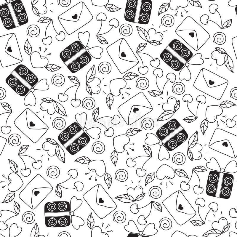 Sömlös modell för dag för valentin` s i klotterstil som isoleras på vit bakgrund vektorbeståndsdelar: hjärtor sidor, körsbär stock illustrationer