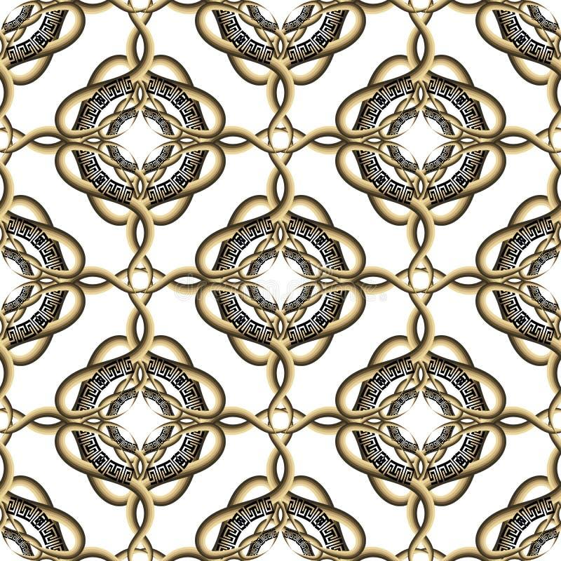 Sömlös modell för dekorativ vektor för arabesquestil invecklad grekisk Tappning mönstrade vit bakgrund Gjorde randig linjer, kurv royaltyfri illustrationer