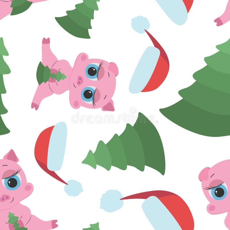 Sömlös modell för det nya året med rosa spädgrisar, locket och gran stock illustrationer