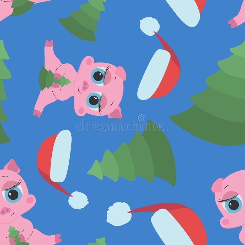 Sömlös modell för det nya året med rosa spädgrisar, locket och gran royaltyfri illustrationer