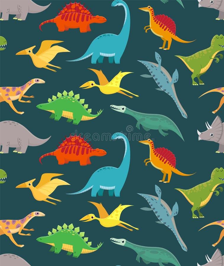 Sömlös modell för dinosaurie Gulliga ungedinosaurier, färgrika drakar Vektortapet stock illustrationer