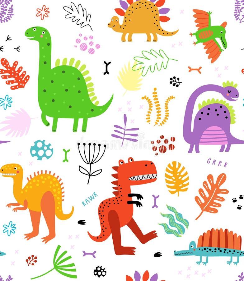 Sömlös modell för dinosaurie vektor illustrationer