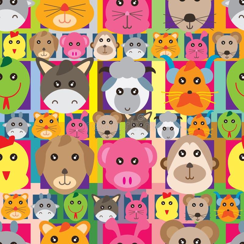 Sömlös modell för djur zodiakhuvudAvatar royaltyfri illustrationer