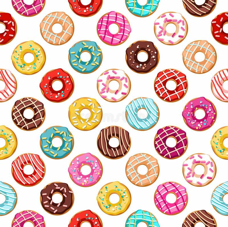 Sömlös modell för Donuts royaltyfri illustrationer
