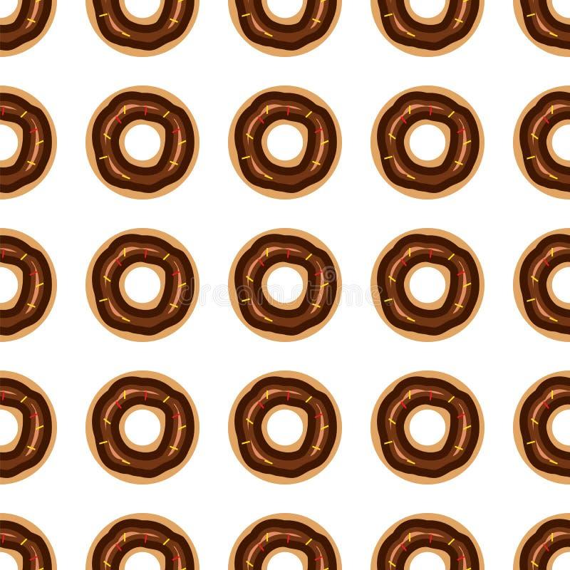 Sömlös modell för Donuts också vektor för coreldrawillustration stock illustrationer