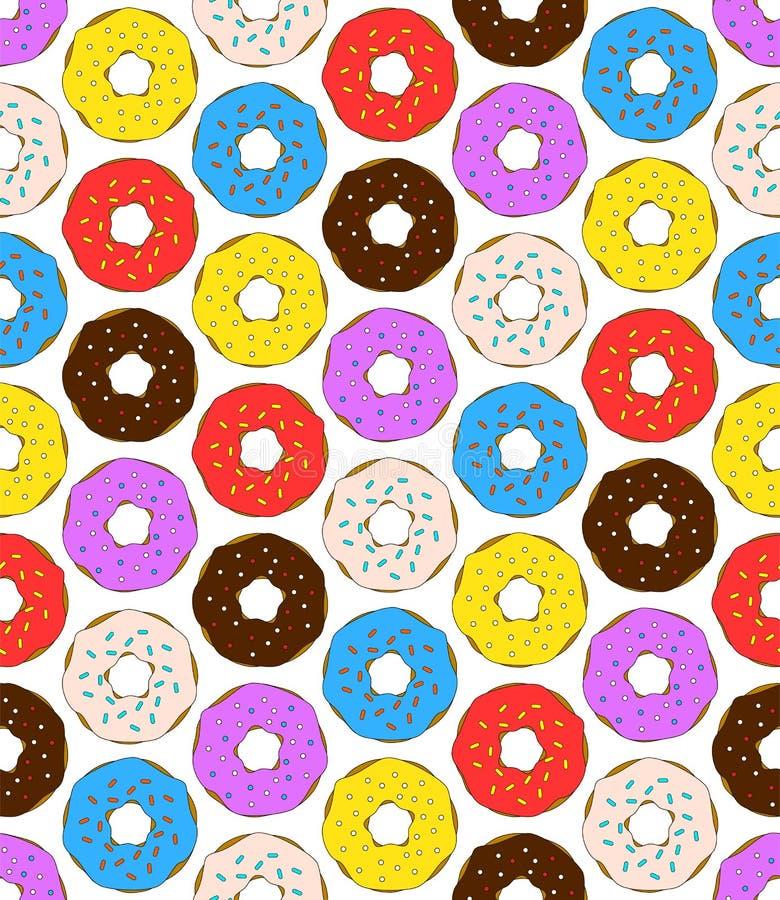 Sömlös modell för Donuts på vit bakgrund Gullig söt mat behandla som ett barn bakgrund stock illustrationer