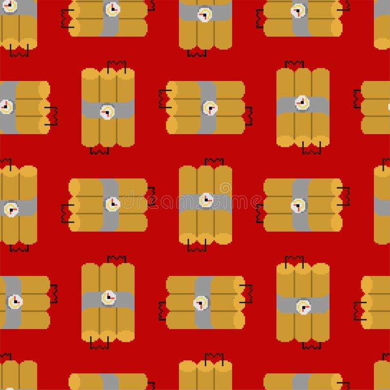 Sömlös modell för dynamitPIXELkonst Backg för bit för TNT-sprängmedel 8 stock illustrationer