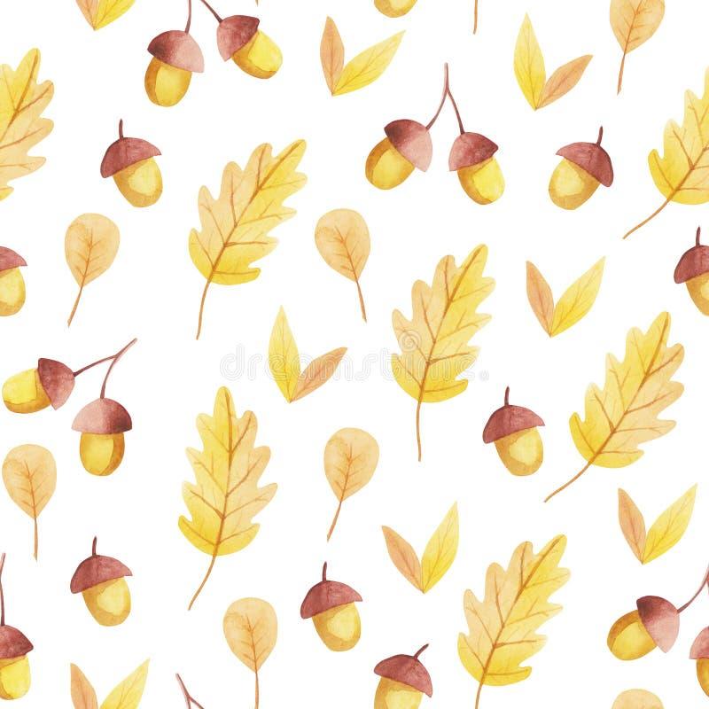 Sömlös modell för ekollon och för gulingblad NedgångVibes stock illustrationer