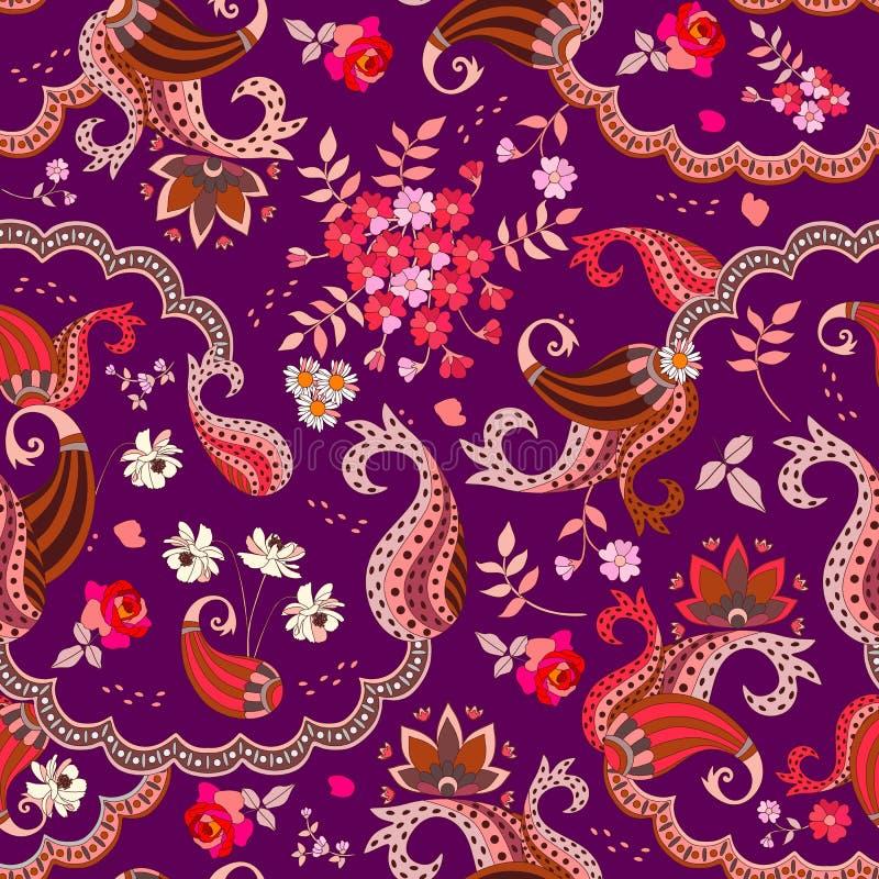 Sömlös modell för elegans med etniska paisley prydnad- och trädgårdblommor på mörk purpurfärgad bakgrund royaltyfri illustrationer