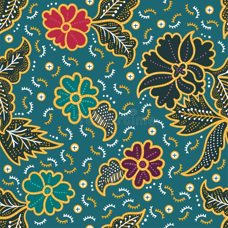 Sömlös modell för elegant blom- batik för utskrift och garnering royaltyfri illustrationer