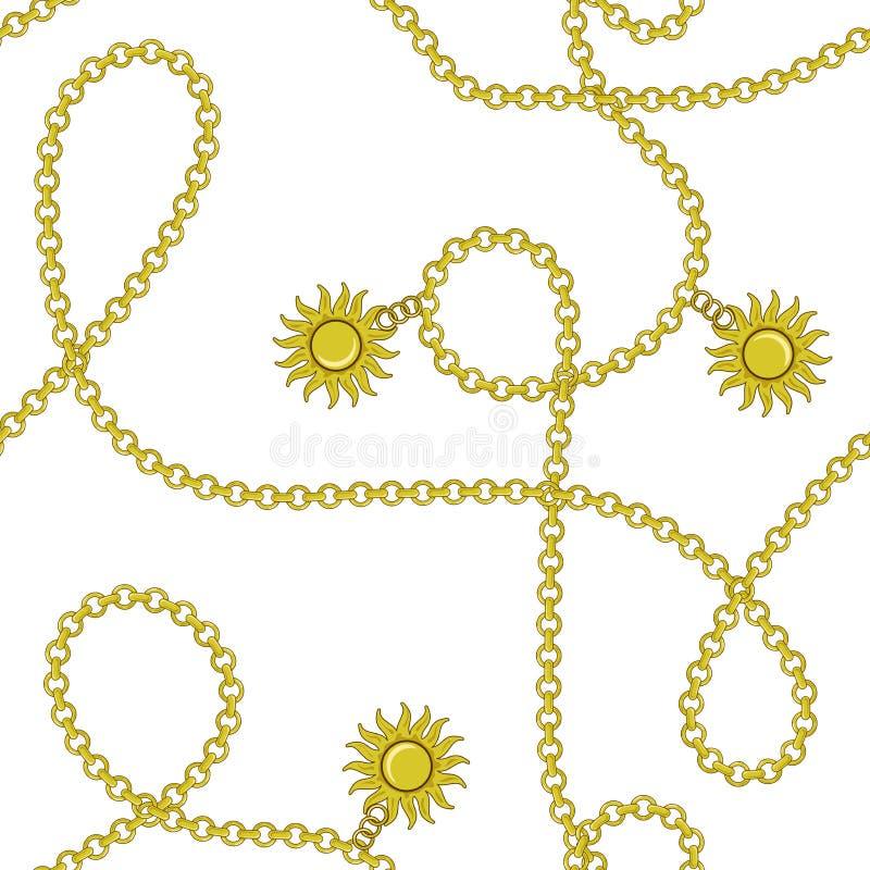 S?ml?s modell f?r elegant moderiktig modern vektor med guld- kedjor f?r h?rligt mode och sol p? en vit bakgrund F?r textil royaltyfri illustrationer