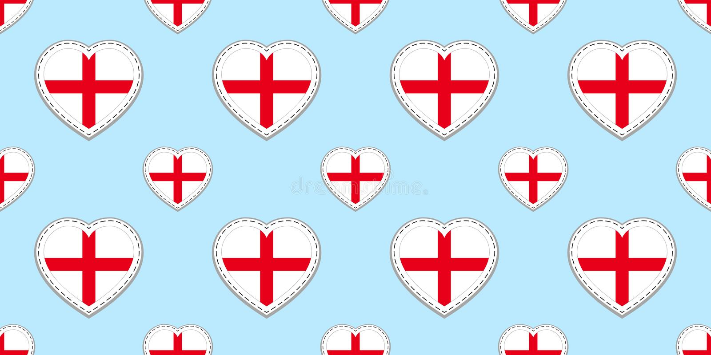 Sömlös modell för England flagga Vektorengelska sjunker stikers Förälskelsehjärtasymboler Textur för språkkurser, sportsidor, tra vektor illustrationer