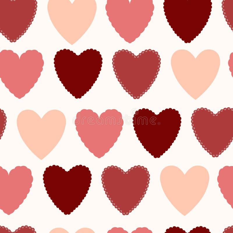 Sömlös modell för enkel vektor med hjärtor av röda skuggor vektor illustrationer
