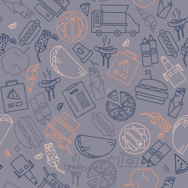 Sömlös modell för enkla översiktssymboler Snabbmat skissar beståndsdelbakgrund royaltyfri illustrationer