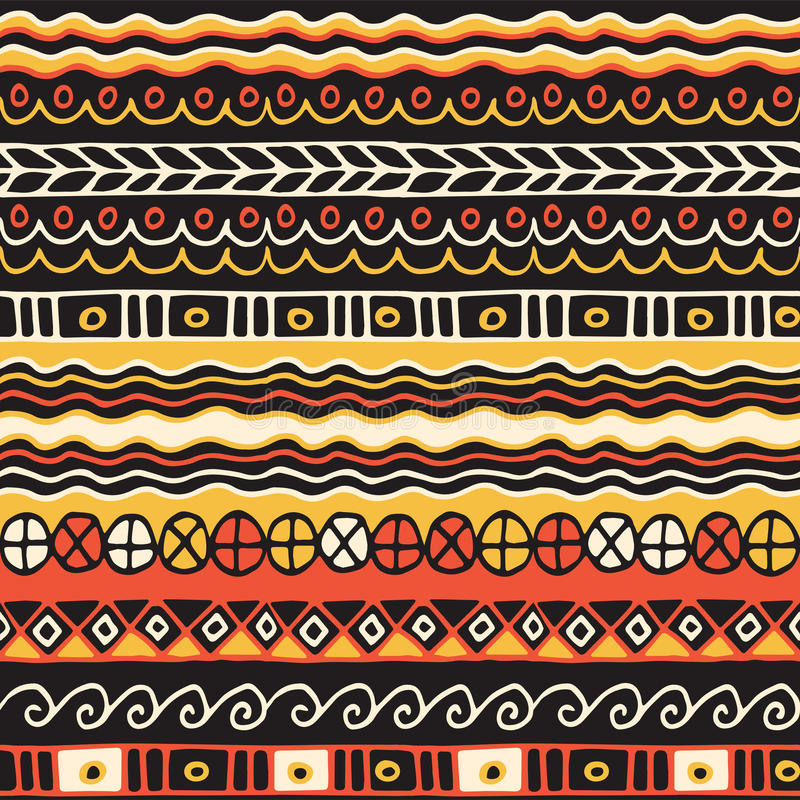 Sömlös modell för etnicitet Boho stil etnisk wallpaper Stam- konsttryck Gammalt abstrakt begrepp gränsar bakgrundstextur royaltyfri illustrationer