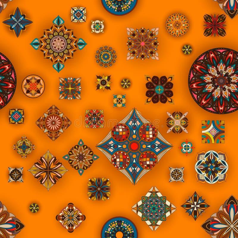 Sömlös modell för etnisk blom- mandala Dekorativ färgrik bakgrund stock illustrationer