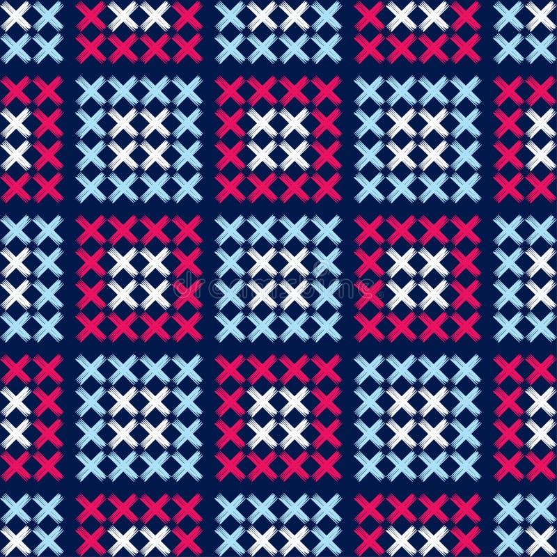 Sömlös modell för etnisk boho broderi traditionell prydnad geometrisk bakgrund stam- modell Folk motiv royaltyfri illustrationer
