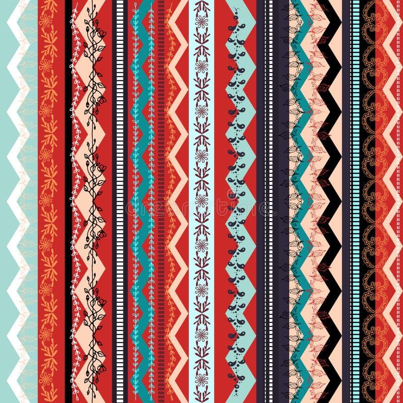 Sömlös modell för etnisk boho Färgrik gränsbakgrundstextur vektor illustrationer