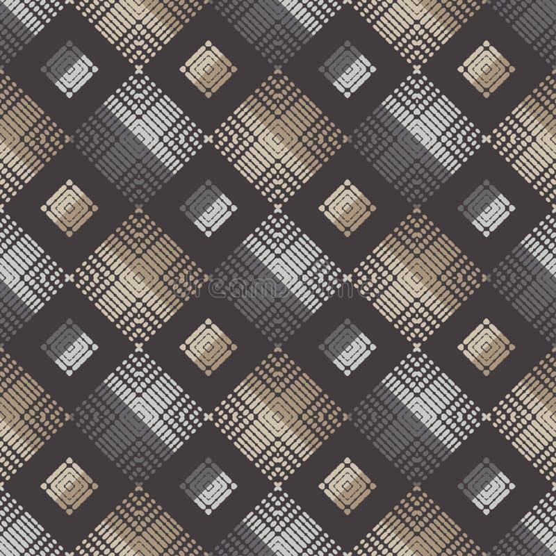 Sömlös modell för etnisk boho Former av prickar och PIXEL Patchworktextur väva traditionell prydnad stam- modell Folk mo stock illustrationer