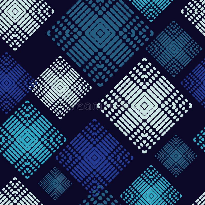 Sömlös modell för etnisk boho Former av prickar och PIXEL Patchworktextur väva traditionell prydnad stam- modell Folk mo vektor illustrationer