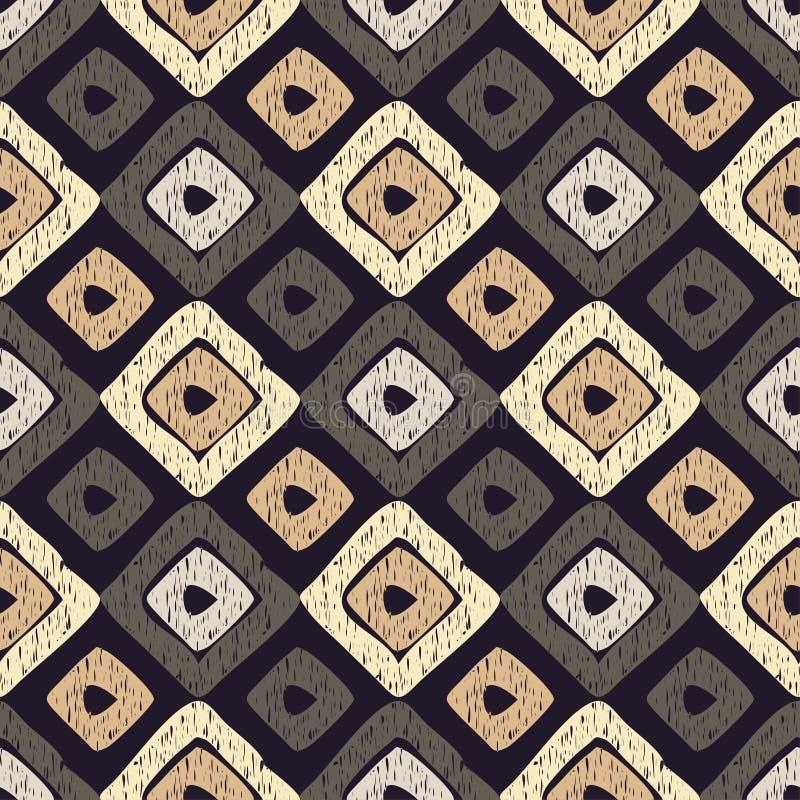Sömlös modell för etnisk boho Klottra textur Retro motiv royaltyfri illustrationer