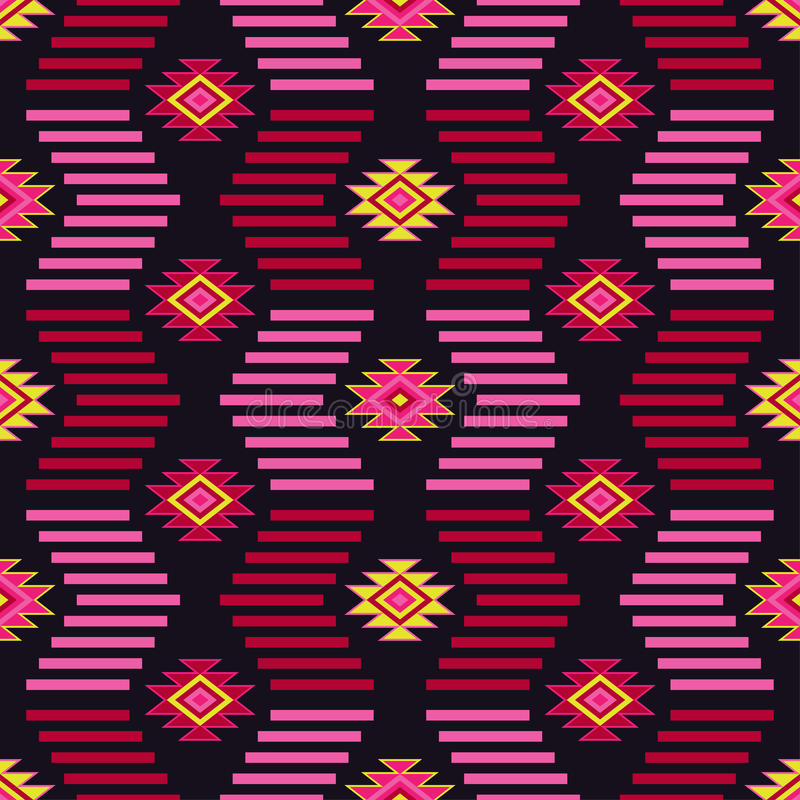 Sömlös modell för etnisk boho Stam- konsttryck, repeatable bakgrund Retro motiv stock illustrationer