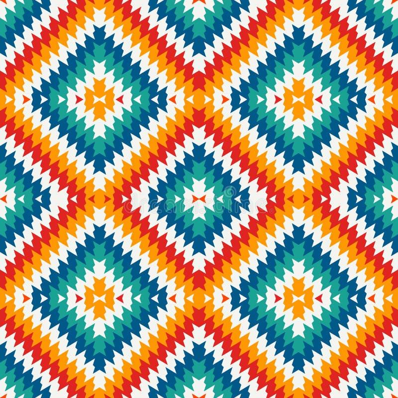 Sömlös modell för etnisk stil med sparrelinjer Indianprydnad Stam- motiv Färgrik mosaiktapet royaltyfri illustrationer
