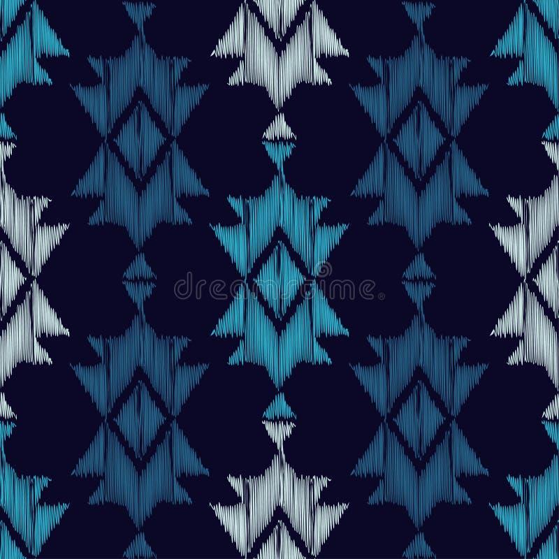 Sömlös modell för etniska bohoblått färgrikt broderityg Retro motiv vektor illustrationer