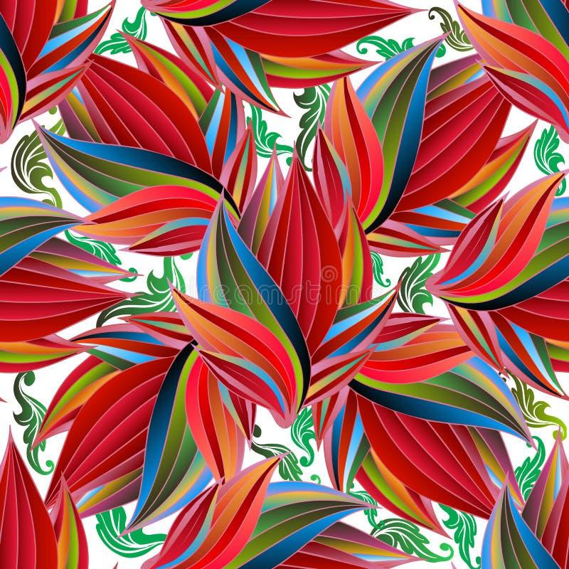 Sömlös modell för exotisk färgrik blommavektor Blom- tropisk bakgrund Upprepa den dekorativa krusidullbakgrunden Vändkretsabstrak vektor illustrationer