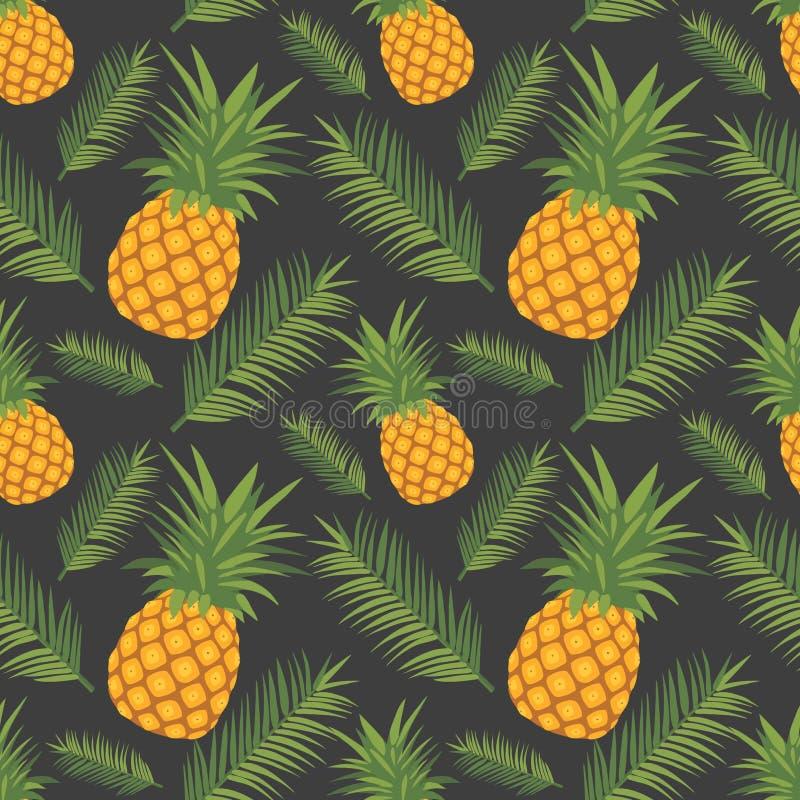 Sömlös modell för exotisk grafisk illustration med gula ananasfrukter och gröna sidor på mörk svart bakgrund royaltyfri illustrationer